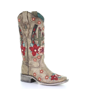 Corral Womens Cactus Overlay Floral Embroidered Western Boot, Taupe