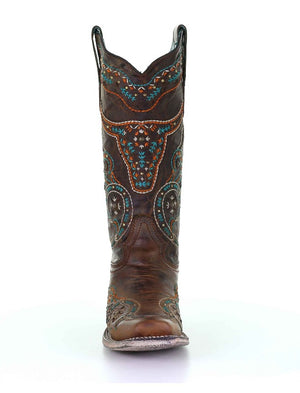 Corral Womens Honey Multicolor Embroidery and Studs Boots