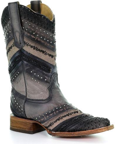 Corral Womens Grey Chevron Embroidered Western Boot with Studs