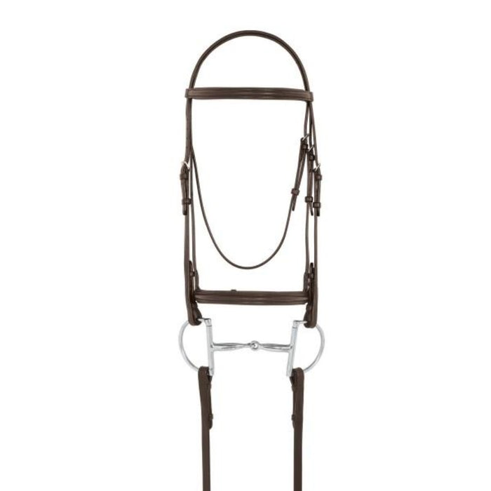 Camelot Plain Raised Padded Bridle with Laced Reins, Brown