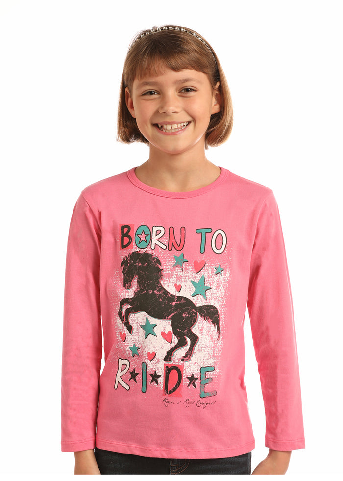 Rock-N-Roll Cowgirl Born To Ride Girls Tee