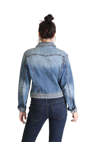 Grace in LA Stretch Embroidered/Embellished Jacket, Denim Blue