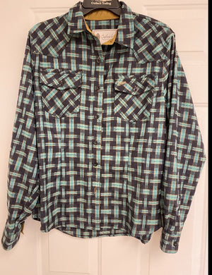 Outback Western Leather Trim Button Down, Green/Blue/Tan Plaid