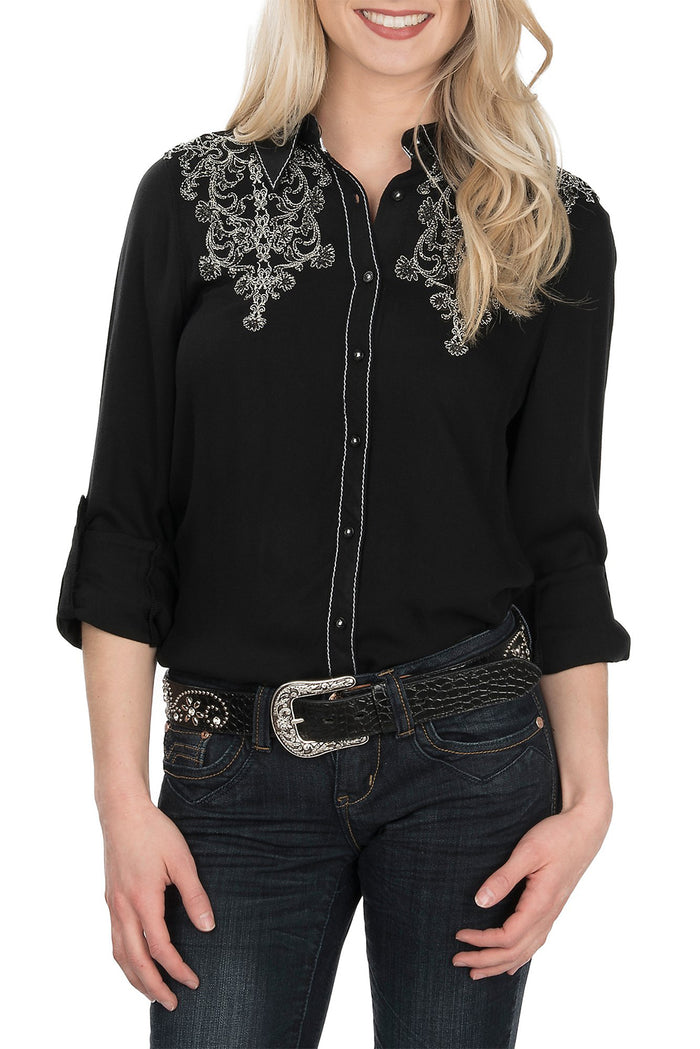 Grace In LA Embroidered Western Dress Shirt, Black