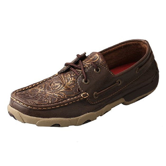 Twisted X Womens Lace Up Driving Moccasin, Brown and Emboss Flower