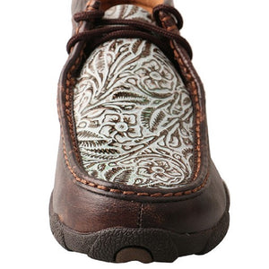 Twisted X Woman's  Lace Up Driving Moccasin Brown and Turquoise print