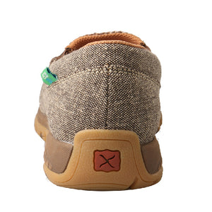 Twisted X Womens Slip-On Driving Moc with CellStretch, Khaki/Grey Multi