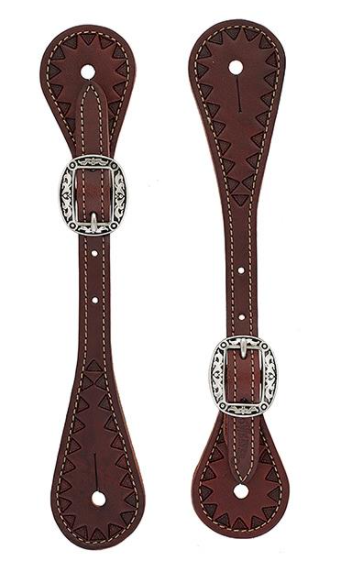 Weaver Youth Hand Tooled Triangle Spur Straps, Chestnut