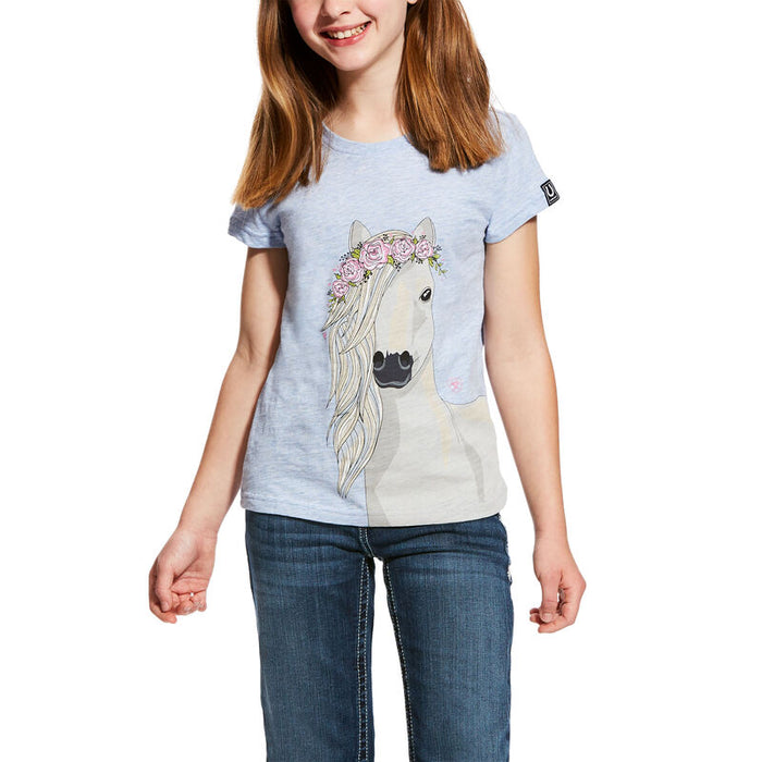Ariat Girls Festival Horse T- Shirt, Heather Blue