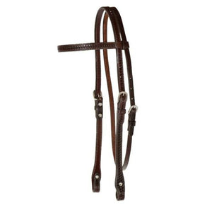 "Circle Y Browband Headstall Basketweave Tooling, 5/8"" Walnut"