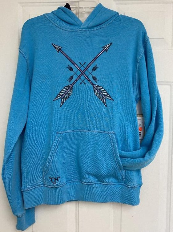 Cowgirl Hardware Crossed Arrows Hooded Pullover, Turquoise