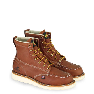 "Thorogood 6"" Tobacco Moc Toe Wedge Sole Workboot"