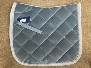 B Vertigo Velour Lux Dressage Saddle Pad, Light Denim Blue