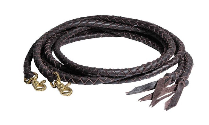 Braided Split Reins, Brown