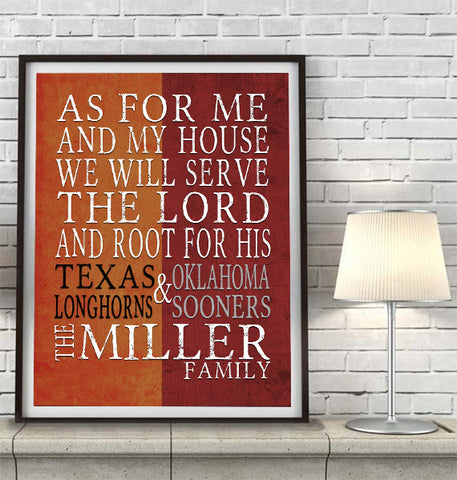 "2 Teams Customized Art Print- ""As for Me"" Parody, House Divided- Unframed"