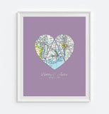 Custom Wedding 3 Heart Map ART PRINT