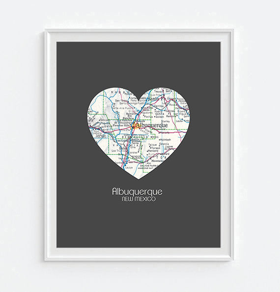 Albuquerque New Mexico Vintage Heart Map - Custom Colors - Couples- Engagement -Anniversary -Christmas- Family gift UNFRAMED ART PRINT