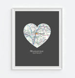 Albuquerque New Mexico Vintage Heart Map Art Print