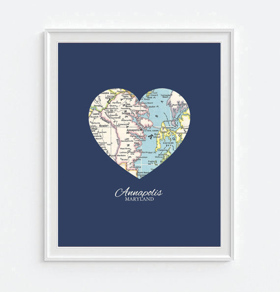 Annapolis Maryland Vintage Heart Map - Custom Colors - Couples- Engagement -Anniversary -Christmas- Family gift UNFRAMED ART PRINT