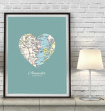 Annapolis Maryland Vintage Heart Map Art Print