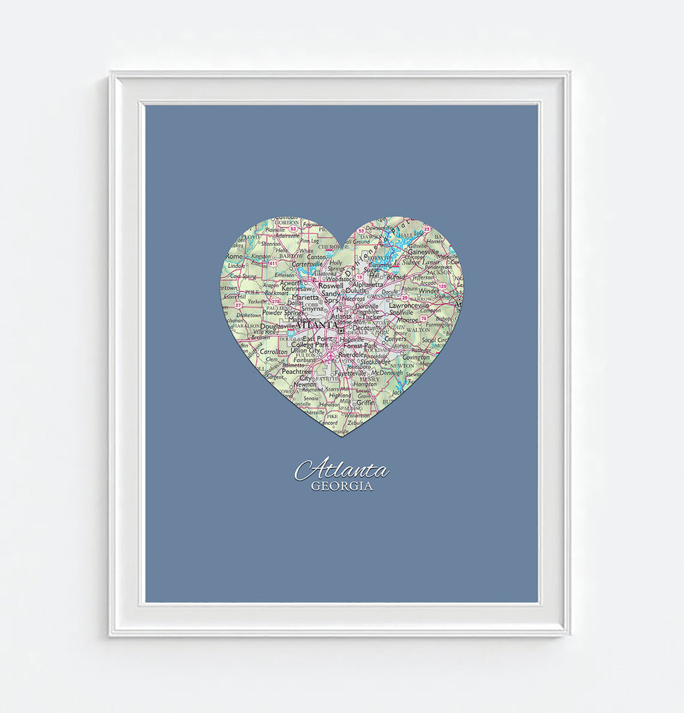 Atlanta Georgia Vintage Heart Map - Custom Colors - Couples- Engagement -Anniversary -Christmas- Family gift UNFRAMED ART PRINT