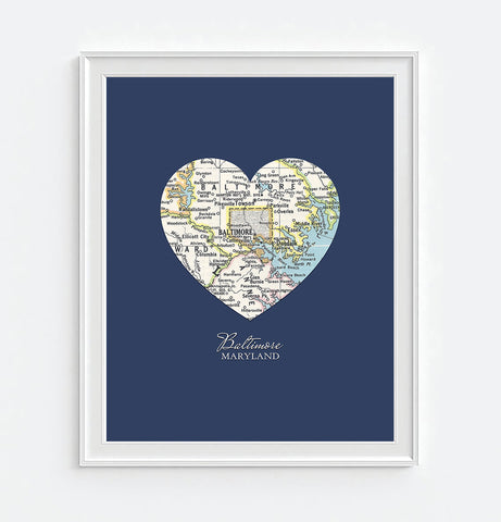 Baltimore Maryland Vintage Heart Map - Custom Colors - Couples- Engagement -Anniversary -Christmas- Family gift UNFRAMED ART PRINT