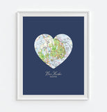 Bar Harbor Maine Vintage Heart Map ART PRINT