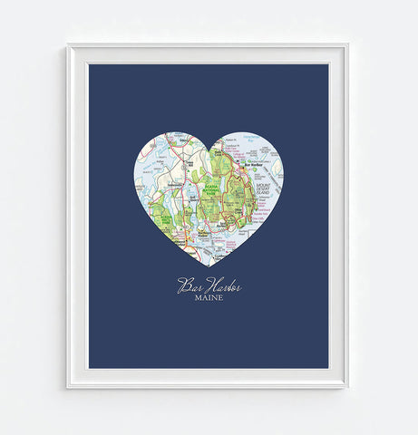 Bar Harbor Maine Vintage Heart Map - Custom Colors - Couples- Engagement -Anniversary -Christmas- Family gift UNFRAMED ART PRINT