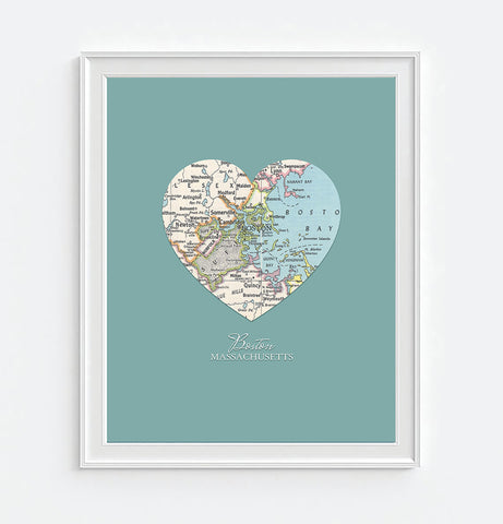 Boston Massachusetts Vintage Heart Map - Custom Colors - Couples- Engagement -Anniversary -Christmas- Family gift UNFRAMED ART PRINT