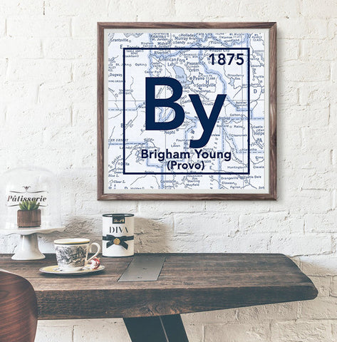 BYU Brigham Young University Cougars Provo Utah Vintage Periodic Map ART PRINT