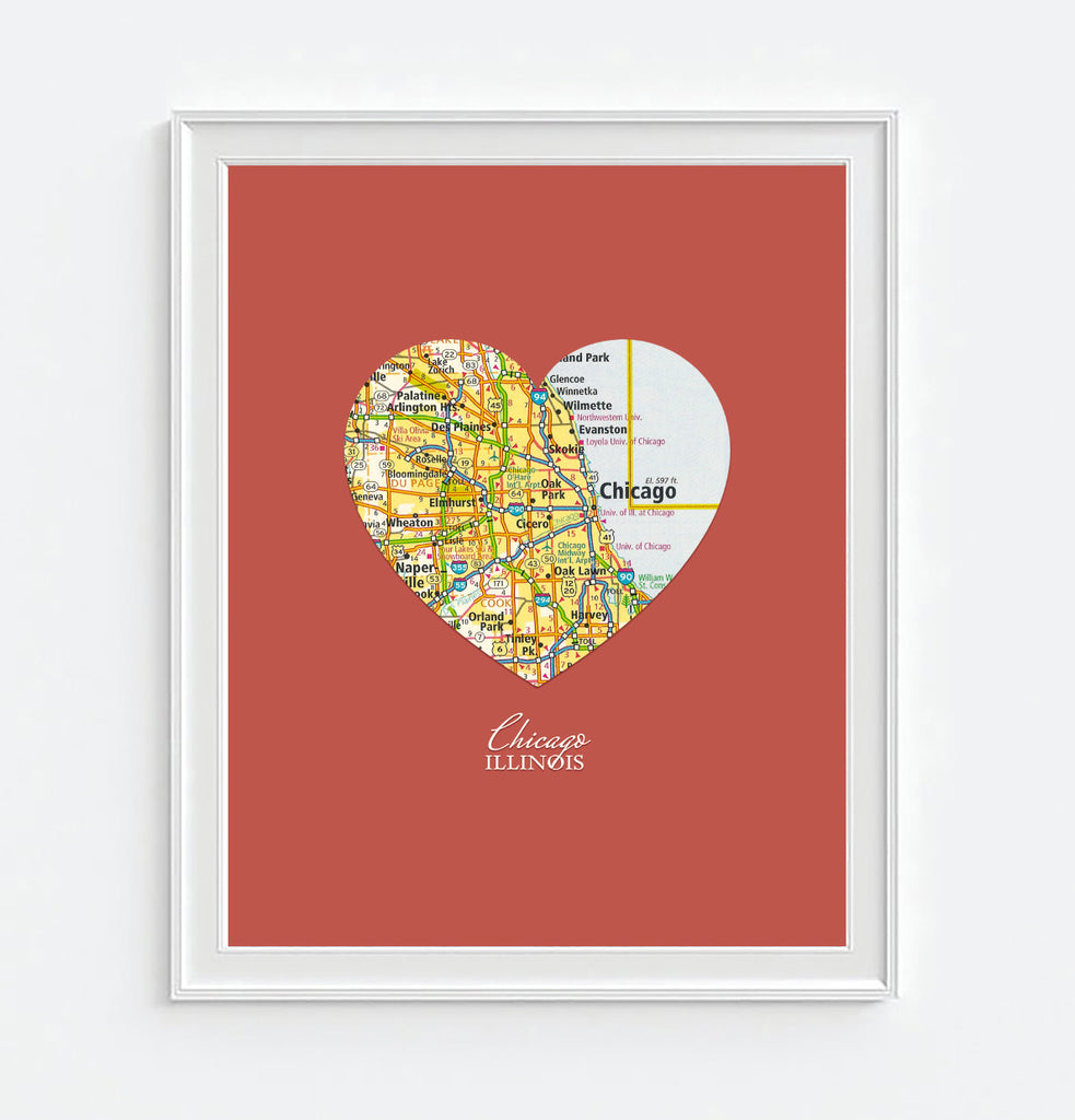 Chicago Illinois Heart Map - Custom Colors - Couples - Wedding - Engagement -Anniversary -Christmas- Family gift UNFRAMED ART PRINT