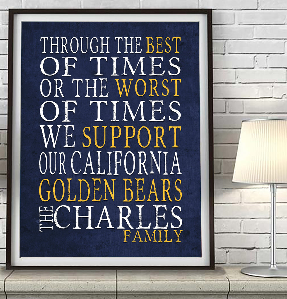 "California Golden Bears Personalized ""Best of Times"" Art Print Poster Gift"