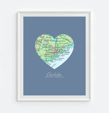 Charleston South Carolina Heart Map ART PRINT
