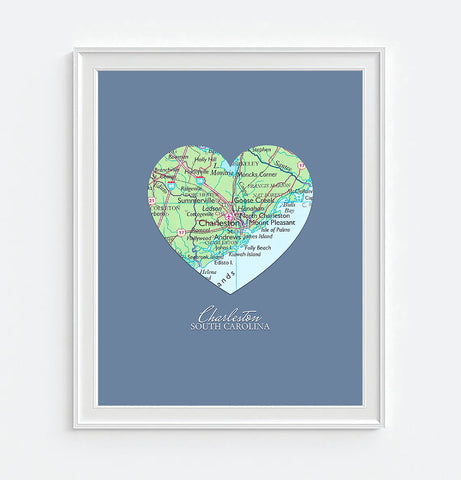 Charleston South Carolina Heart Map - Custom Colors - Couples - Wedding - Engagement -Anniversary -Christmas- Family gift UNFRAMED ART PRINT