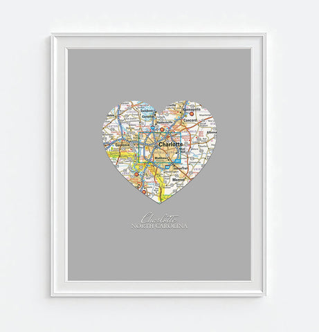 Charlotte North Carolina Heart Map - Custom Colors - Couples - Wedding - Engagement -Anniversary -Christmas- Family gift UNFRAMED ART PRINT