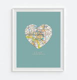 Charlotte North Carolina Heart Map ART PRINT