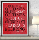 "Cincinnati Bearcats Personalized ""Best of Times"" Art Print Poster Gift"
