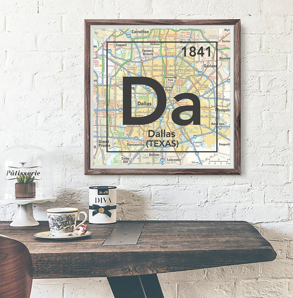 Dallas Texas Da- Vintage Periodic Map ART PRINT- unframed