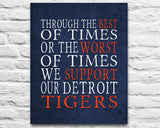 "Detroit Tigers Baseball Personalized ""Best of Times"" Art Print Poster Gift"