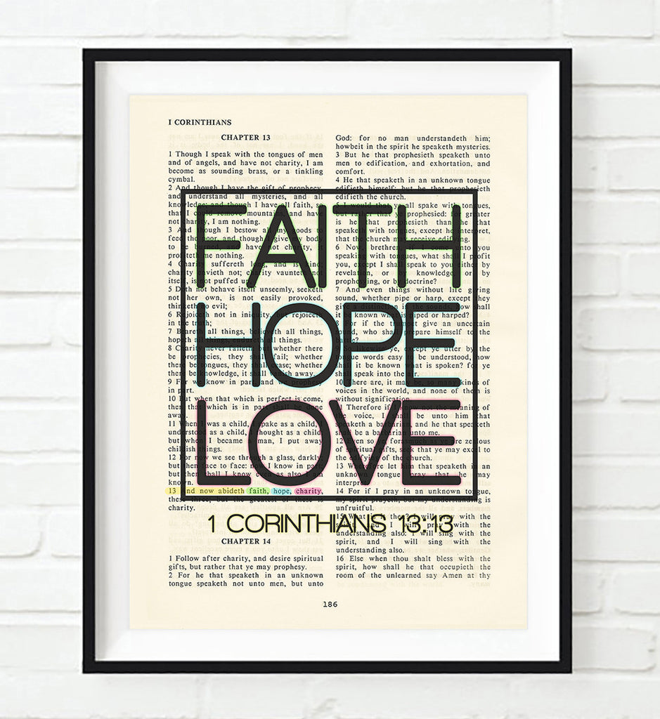 Faith Hope Love - 1 Corinthians 13:13 -Vintage Bible Highlighted Verse Scripture Page Christian Wall ART PRINT