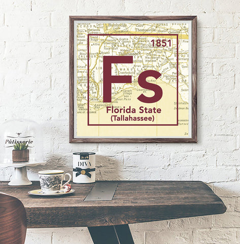 FSU Florida State University Seminoles Tallahassee FL -Vintage Periodic Map ART PRINT -Unframed