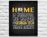 "Georgia Tech Yellow Jackets inspired Personalized Customized Art Print- ""Home Is"" Parody- Retro, Vintage-  Unframed Print"