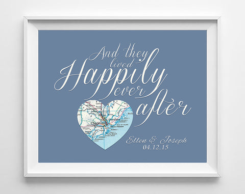 Custom Wedding Heart Map Happily Ever After ART PRINT