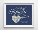 Custom Wedding Heart 2 Maps Happily Ever After Art Print