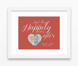 Custom Wedding Heart Vintage Map 2 Locations Happily Ever After -  Couples - Engagement- Anniversary gift UNFRAMED ART PRINT