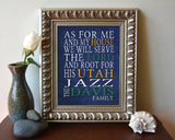 "Utah Jazz basketball Personalized ""As for Me"" Art Print"