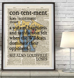 "Kentucky Wildcats inspired ""Contentment"" ART PRINT Using Old Dictionary Pages, Unframed"