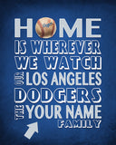 "Los Angeles Dodgers Personalized ""Home is"" ART PRINT"