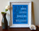 "Dallas Mavericks basketball inspired Personalized Art Print- ""As for Me""- Unframed"