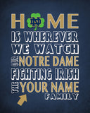 "Notre Dame Fighting Irish inspired Personalized Customized Art Print- ""Home Is"" Parody- Retro, Vintage-  Unframed Print"
